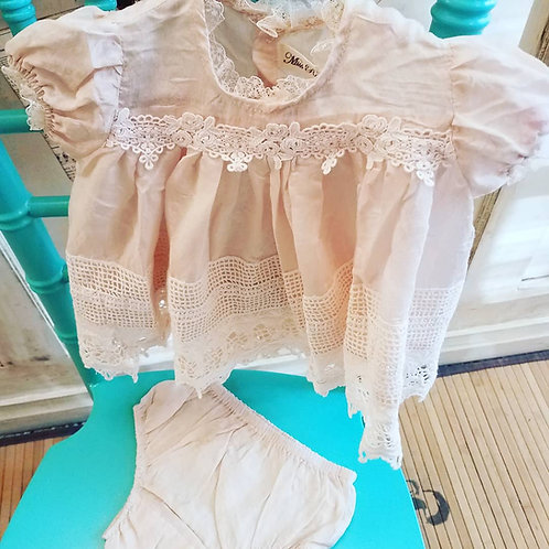Heirloom Silk Baby Dress with Bloomer