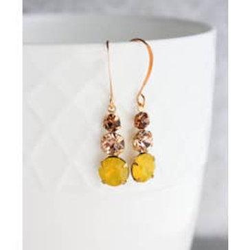 Vintage Glass Drop Earrings-Honey Bee
