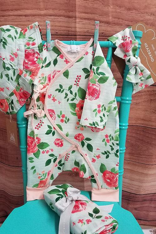Angel Dear Rose Garden Wrap Coverall- Newborn