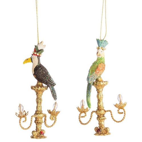 Magical  Birds on Chandeliers Ornaments - Set of 2