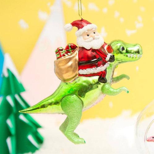 Santa riding Dinosaur Ornament