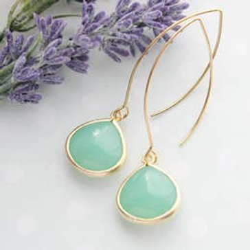 Mint Opal Dangle Earrings