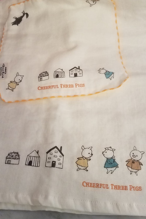Shinzi Katoh Three Pigs Washcloth and Hand Towel Set