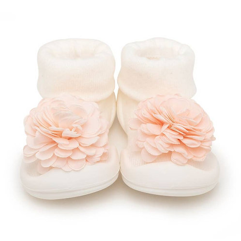 Komuello Sock Shoe-White Pink Flower