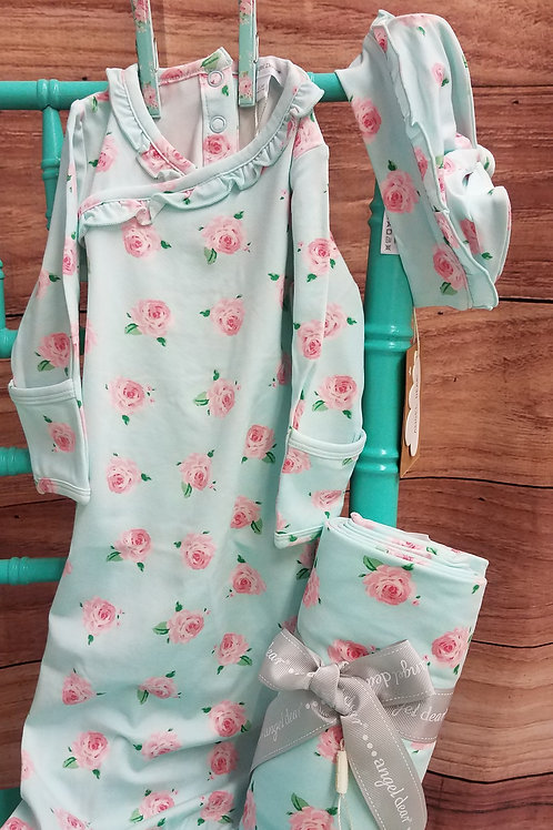 Angel Dear Petite Rose Kimono Gown and Hat 0-3m