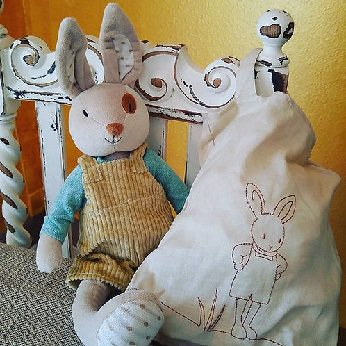 Boy Rabbit with Embroidered Tote