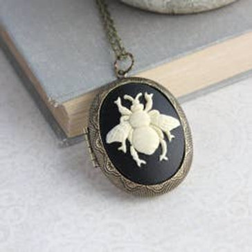 Bee Cameo Locket Necklace