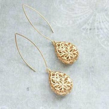 Gold Teardrop Filigree Earrings