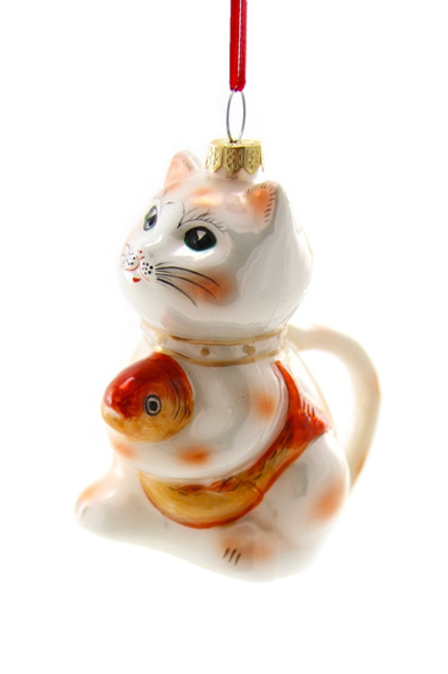Well-Dressed  Animals LUCKY CAT TEAPOT Ornament