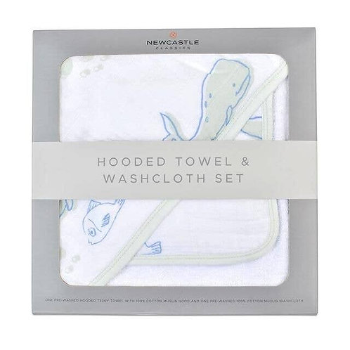Whale Hooded Towel and Washcloth
