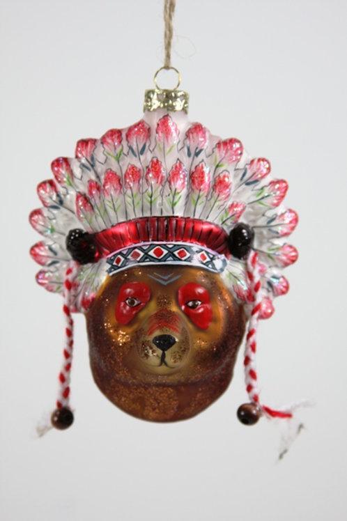 Cody Foster Bear Chief Glass Ornament