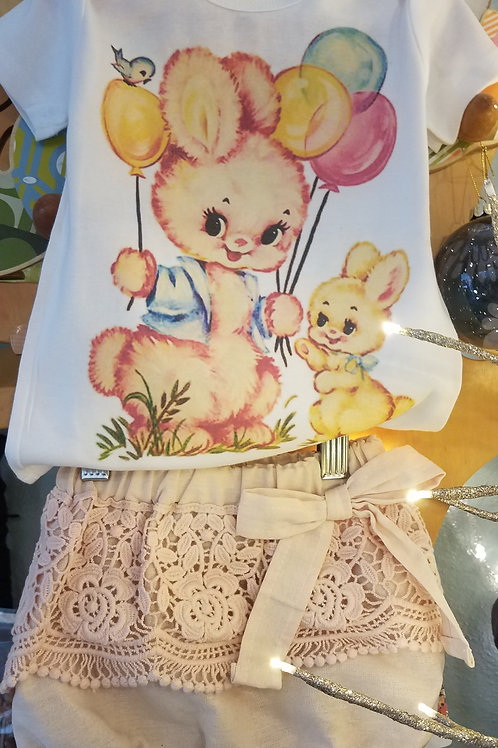 Vintage Bunny Tee with Lace Bloomers-18m