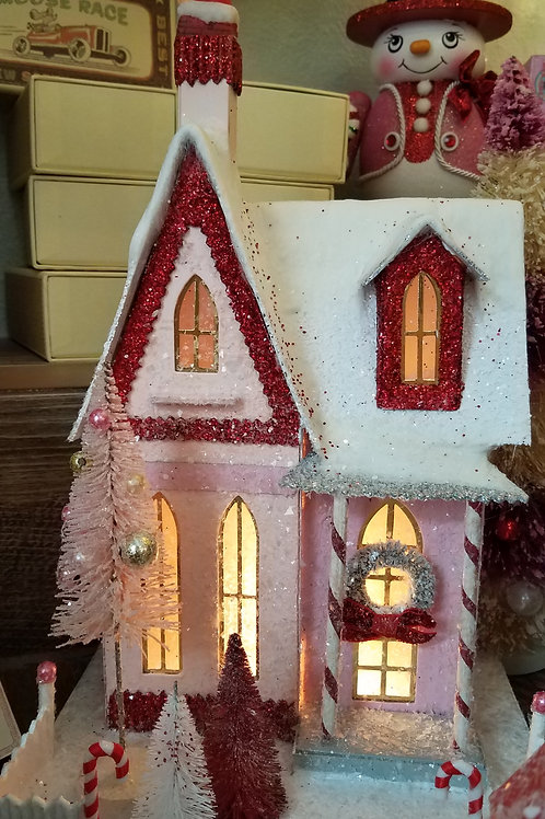 Cody Foster Holiday Pink Candy Cane House w/ Santa