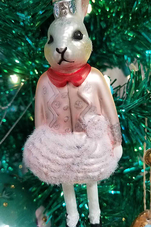 Well-Dressed  PINK LADY BUNNY Ornament