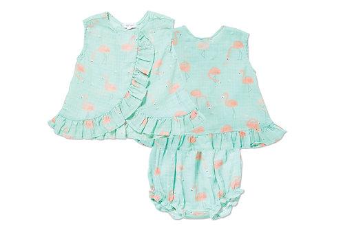 Angel Dear Flamingo Muslin Ruffle Top & Bloomer