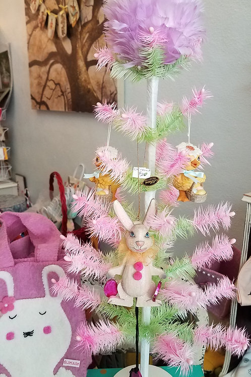 Feather Tree Pink and Green with Feather Topper