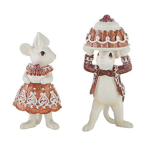 """4.5"""" GINGERBREAD MOUSE  HOLDING CAKE-SET OF 2"""