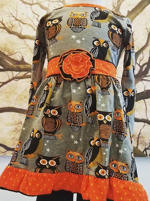 Vintage Owl Halloween Dress with Leggings