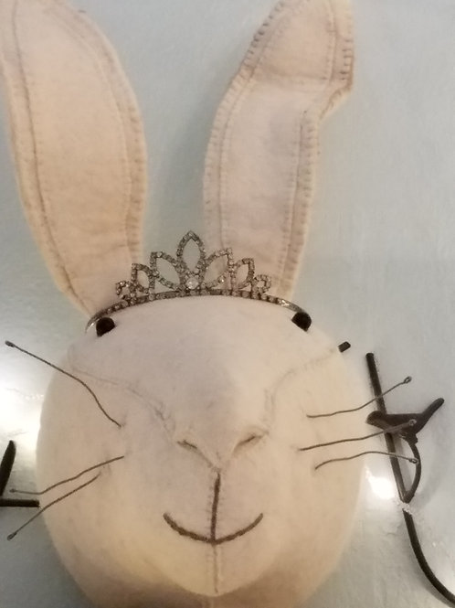 Felted Rabbit Head with Vintage Rhinestone Tiara