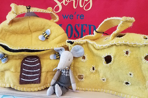 Mobile Felt Mouse Houses: Cheese Block, Bee House, Strawberry or Cupcake House