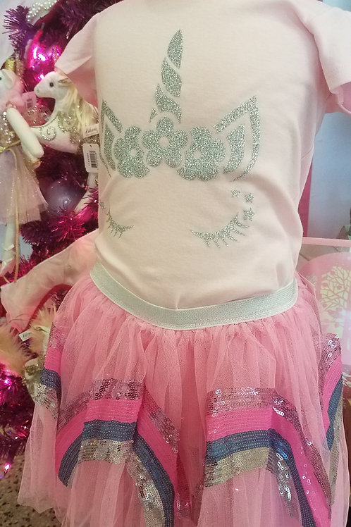 Rainbow Sequin Tulle Skirt-PInk or Purple