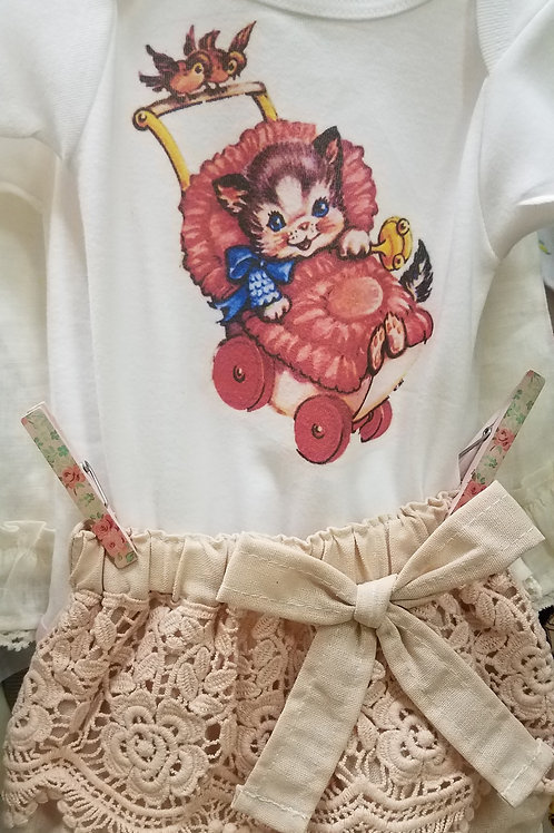 Vintage Kitty Tee with Lace Bloomers Baby Gift