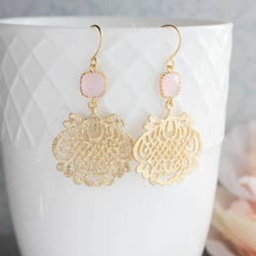 Filigree Earrings-Gold/PInk