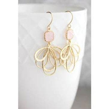 Petal Dangle Earrings-Light Pink/Gold