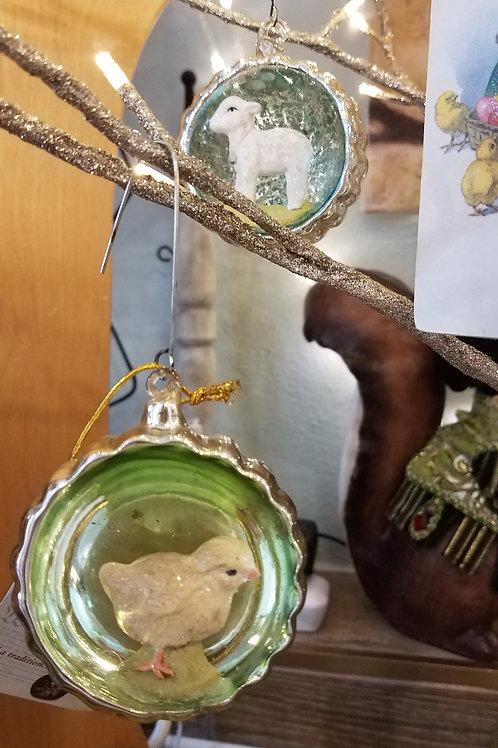 Pair of Mercury Glass Easter Ornaments