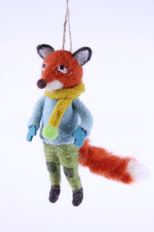 Fox with Scarf Wool Ornament
