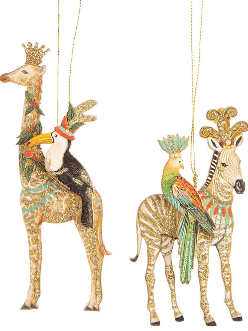 Magical Animals Wood Ornaments - Set of 2 (Zebra/Giraffe)