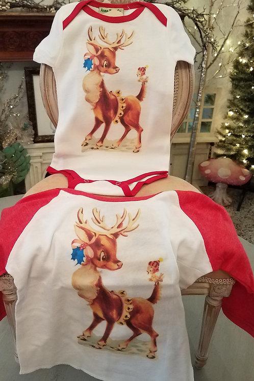 Vintage  Christmas Deer Bodysuit