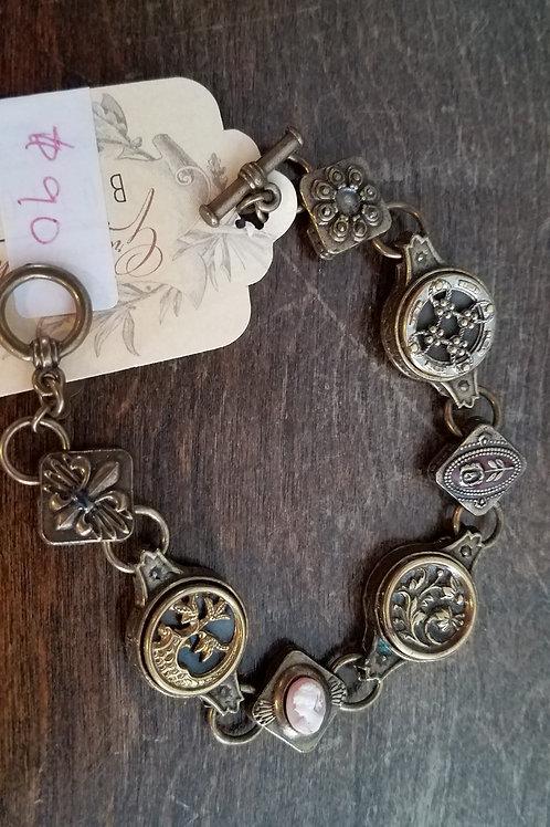 Vintage Brass Button Bracelet- only one