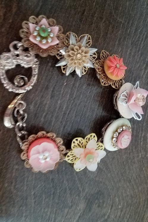 Dimensional Flower Charm bracelet- only one