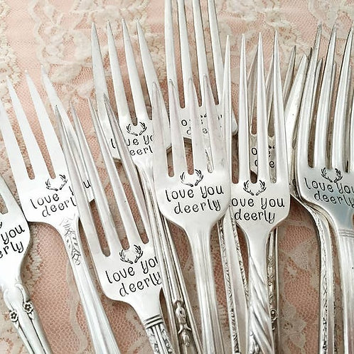 Hand Stamped Love You Deerly Vintage Fork