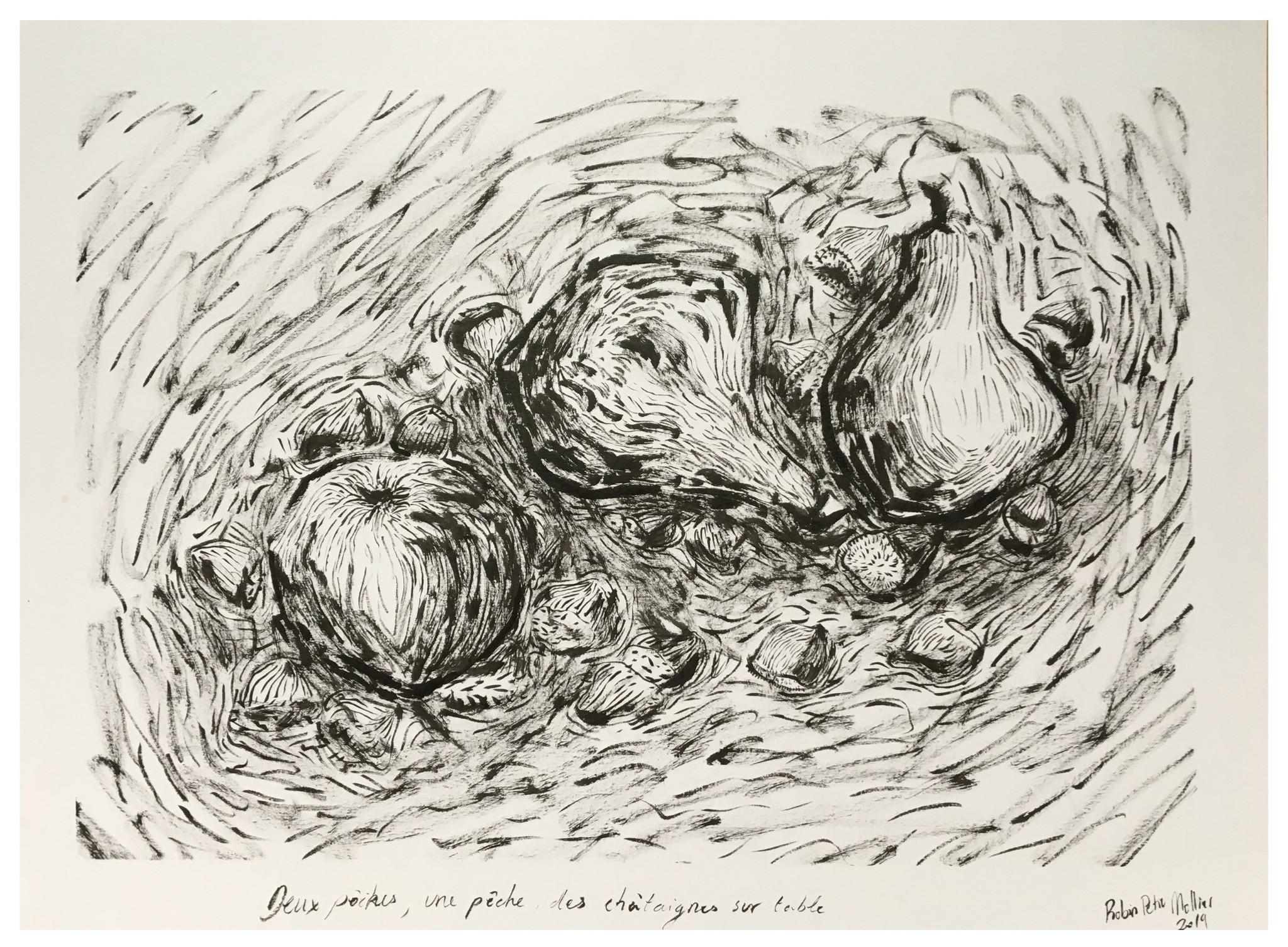 « Deux poires, une pêche, des châtaignes sur table »