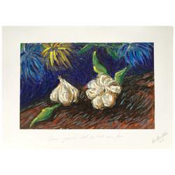 """""""Deux gousses d'ails sur table avec fleurs »"""
