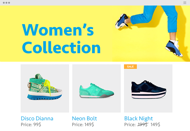 Women's collection page of a sneaker website.