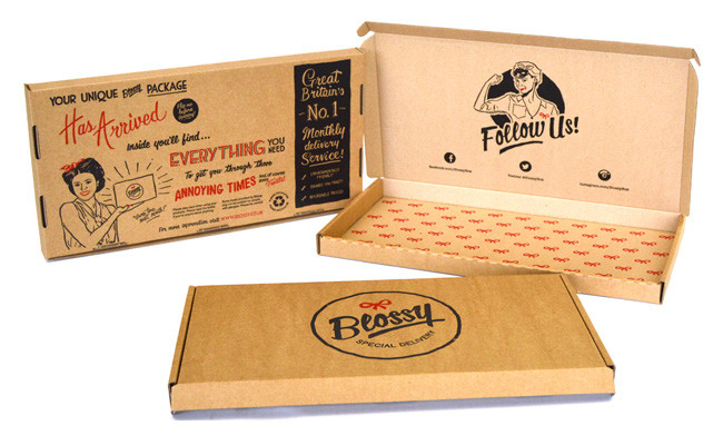 Blossy retro product packaging example.