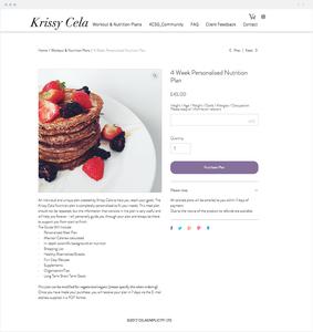 Krissy Cela website selling digital nutrition plans.