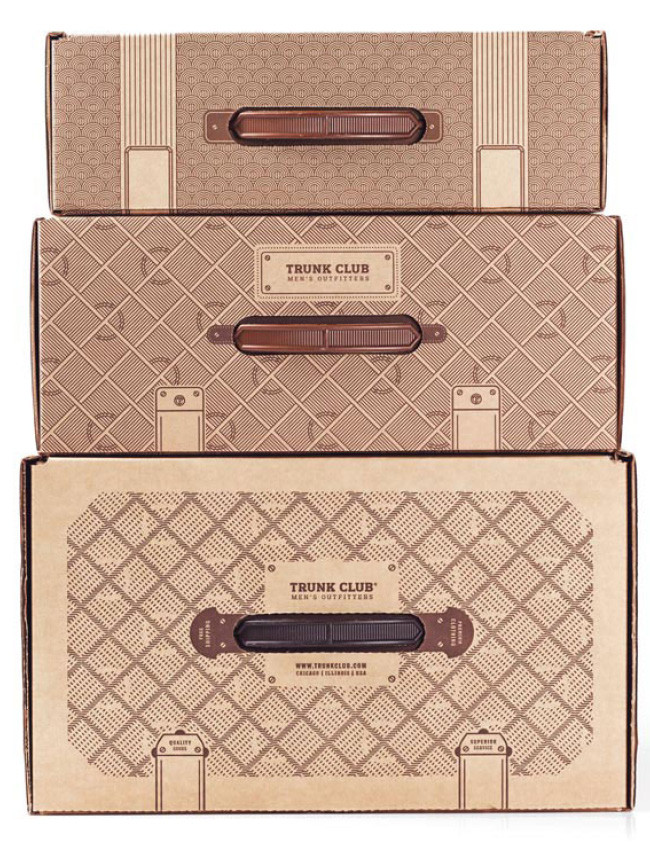Trunk Club travel suitcase product packaging example.