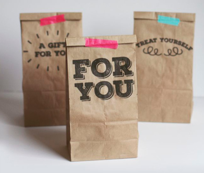 Stamped product packaging gift bags.