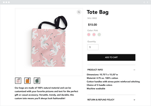 Product page example from an online store selling tote bags.