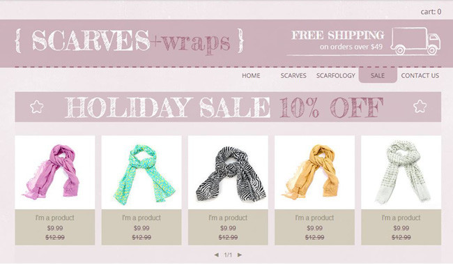eCommerce website selling scarves.