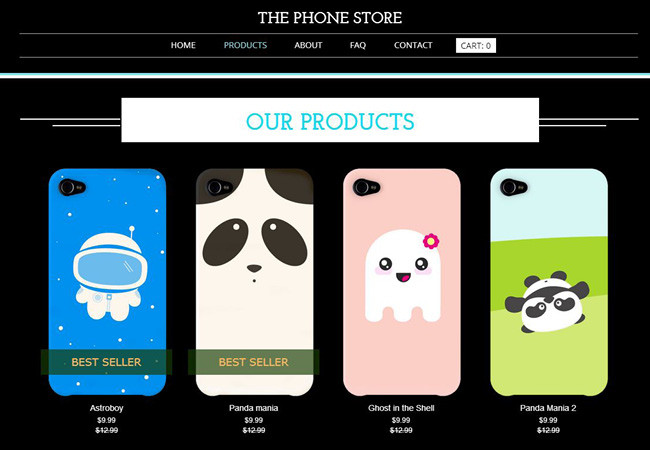Online store selling cellphone cases.