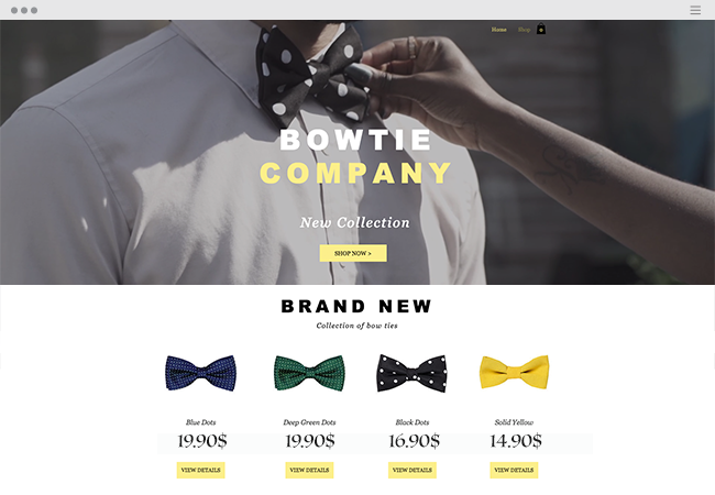 Bowtie Company eCommerce website.