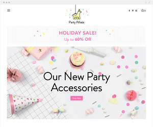 Online party store homepage example.