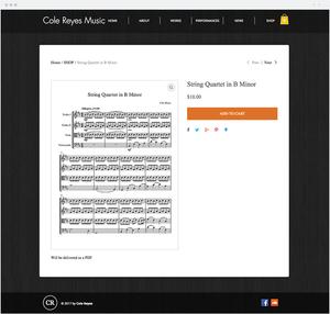 Cole Reyes music website selling sheet music downloads.