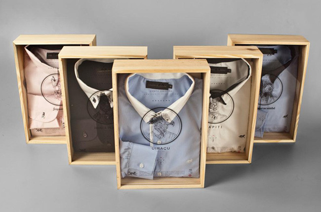 Wooden crate product packaging example for men's shirts.