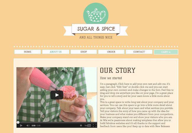 Cupcake store About Us website page.